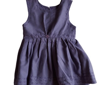 Purple summer dress with patterned stitching (Age 6-12 Months)