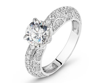 """Ring of silver 925 with white cubic zirconia """"Argentina"""""""