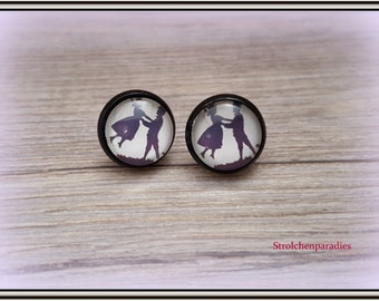 "Black cabochon earrings ""silhouette couple"""