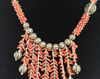 Genuine Coral Sterling Silver Beads Necklace