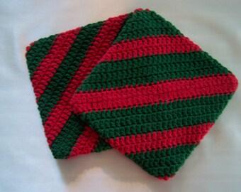 Christmas Potholder Set/Christmas/potholder/potholders/double thick/crochet/new/heavy/handmade/cotton/washable