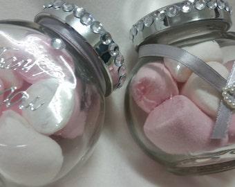 Wedding favours  silver ribbon
