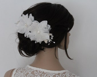 Crystal And Pearl Embellished Flower Blossom Bridal Headpice. Hair Fascinator. Wedding, Party, Prom Hair Accessory.