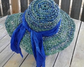 Sun hat, women's beach hat, raffia sun hat, hand made fashion hat, hand made sun hat, crochet sun hat, blue/green colored hat
