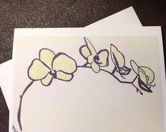 Yellow Orchids on a 4x6 note card