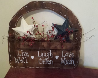 "Primitive Wall Decor, ""Live Well, Laugh Often, Love Much"" Basket"