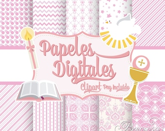 Digital papers first communion girl + Extras