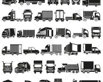 American Cargo Truck Clipart, Truck Silhouette, Transportation and Shipping Truck Vector, instant download