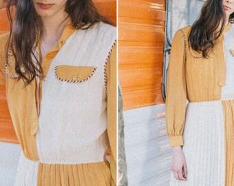 Japanese Vintage Dress, 70s, Pleated