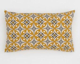 Elmas Handscreen Printed Cushion Cover - Golden Yellow / Charcoal Grey 30x50cm