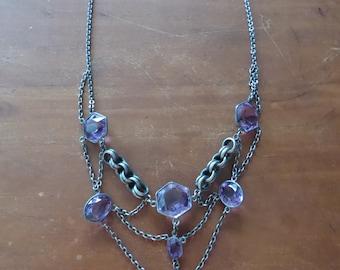 Antique Victorian Sterling Amethyst Crystal Festoon Necklace