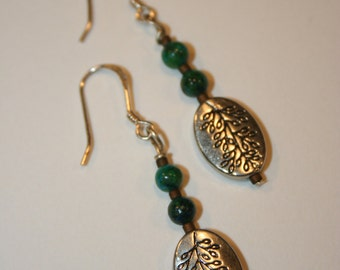 Earthy Green and Silver Dangle Earrings
