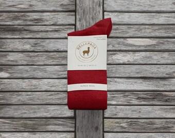 Socks red mid-calf Alpaca for woman