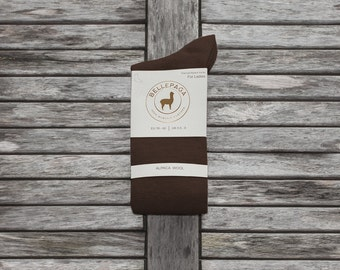 Brown Alpaca mid-calf socks for women