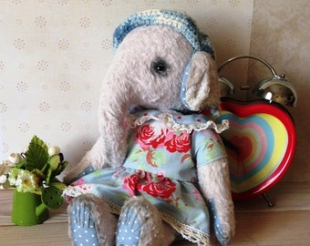 Stuffed elephant Stuffed toy Teddy Teddy elephant Vintage toy Collectible toy Collectible elephant Teddy bear
