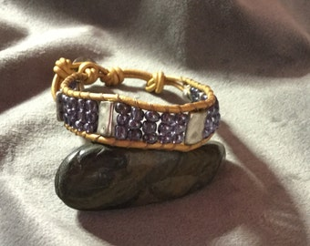 Single wrap beaded leather bracelet, bohemian leather jewelry, chan luu style