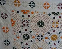 Handmade Indian Kantha throw bed cover APPLIQUE queen size quilt new cotton ralli gudari 011
