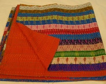Indian Handmade Kantha Quilt Bedspread Throw Cotton Blanket Ralli Gudari Quee