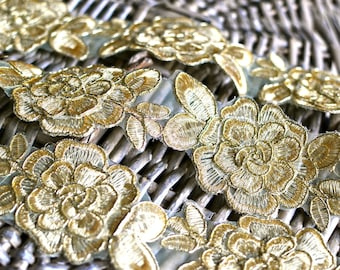1 yard Gold lace trim I Embroidered lace I 3D lace trim I Golden lace trim I Lace trim I Bridal lace trim I Golden lace I 3D lace
