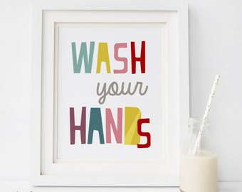 Wash Your Hands Prints, Colorful Canvas Wall Art, Kidu0027s Bathroom Art Print  Colorful Bathroom