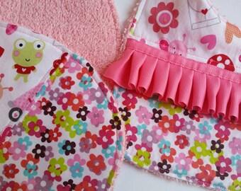 Pink Flowers Bib and Burp Cloth Set