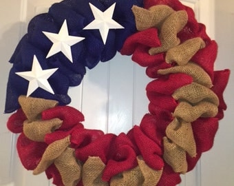 Red White and Blue Patriotic July 4th Burlap Wreath