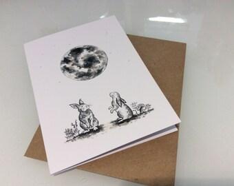Moon bunny card