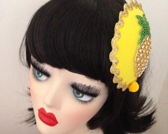 Pillbox Hat Fascinator Yellow Pineapple Strass Millinery Bibi Fifties Ananas
