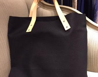 Canvas Shopper Bag with leather details