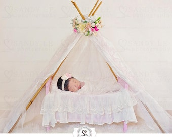 Newborn Digital Backdrop - Floral and Lace Teepee Tent Background Composite