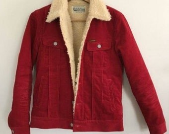 Authentic Wacko Maria Japan Red Corduroy Jacket with Fleece Lining Size Small