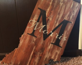 Custom Indiana with Name, Wood Sign, Handcrafted, Personalized, Primitive Home Decor