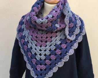 Crochet Striped Shawl, Grey, Purple, Blue, From Cornwall, Triangular, Wool