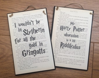 Harry Potter Inspired Wooden Wall Plaques