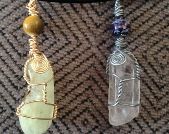 Hand wrapped crystal pendants