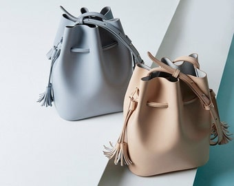 Sale Leather bucket bag leather crossbody bag handbag leather shoulder bag blue nude leather bag