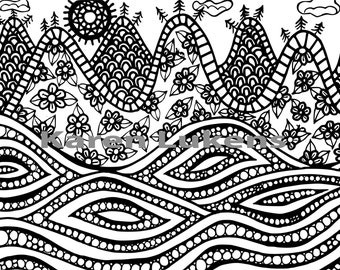 High Tide, 1 Adult Coloring Book Page, Printable Instant Download