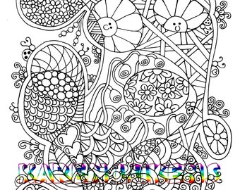 Happy Scribbles, 1 Adult Coloring Book Page, Printable Instant Download, Karen Lukens