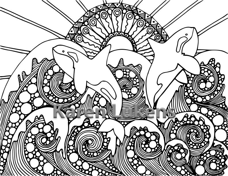 5 pagesmermaids orcas ocean pack 1 5 adult coloring book pages printable instant download - Coloring Book Pages Printable