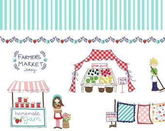 "Riley Blake Designs, BORDER MINT ""Vintage Market"" by Tasha Noel, per half-yard"