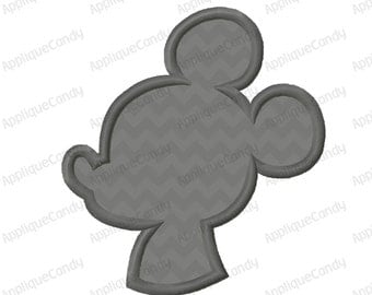 Mr Mouse Side View Silhouette Applique Machine Embroidery Design 4x4 5x7 6x10 8x8 INSTANT DOWNLOAD