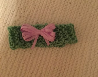 Childs headband knitted with ribbon bow