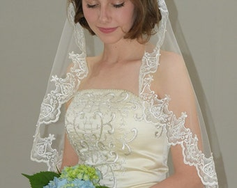 "Circular Cut Mantilla veil - 42"" fingertip length bridal veil beaded with sequins"