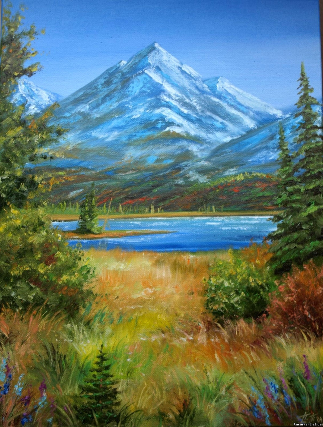 Mountain art oil painting 12x16in landscape autumn scenery for Oil painting scenery