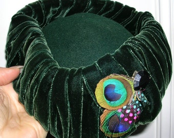 """Vintage original 1940's 4 pc couture """"Green With Envy"""" velvet wiggle dress, hat, hat clasp & matching bag / SIZE: 10"""