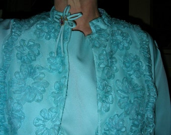 Vintage late 1950's blue satin and lace cornelli worked shift dress & matching swing coat size: 12