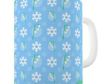 Snowflake And Flower Wallpaper Design Ceramic Tea Mug