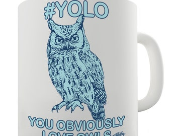 YOLO You Obviously Love Owls Ceramic Novelty Mug