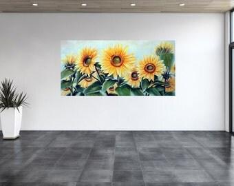 Sunflowers, flowers, original oil painting, painting