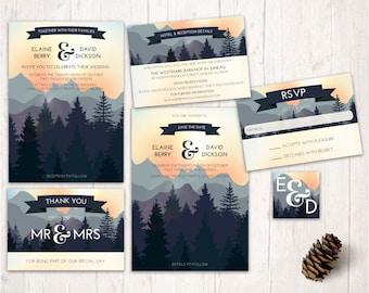 mountain wedding invitations, nature inspired wedding design, printable wedding invitation set, forest woodlands wedding invites, stationary